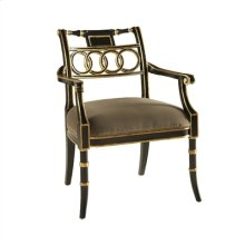 RUBBED BLACK LACQUER FINISHED ARMCHAIR, GILDED GOLD ACCENTS, TAUPE VELVET UPHOLSTERY