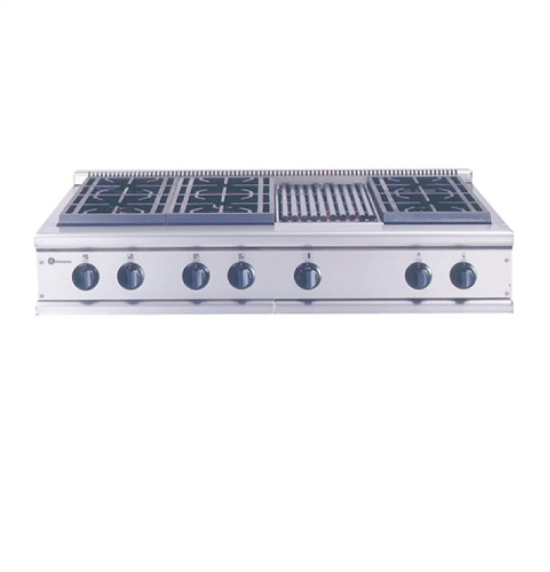 Ge Monogram 48 Professional Gas Cooktop With 6 Burners And Grill Liquid Propane