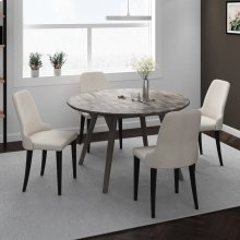 Mira/Zima 5pc Dining Set, Grey/Grey