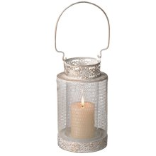 White and Gold Hanging Pillar Lantern.