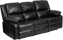 Harmony Series Black Leather Sofa with Two Built-In Recliners