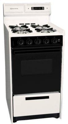 """Deluxe Bisque Gas Range In Slim 20"""" Width With Electronic Ignition, Digital Clock/timer, Black See-through Glass Oven Door and Light; Replaces Stm1303dk"""