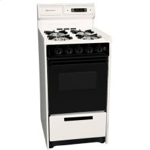 "Deluxe Bisque Gas Range In Slim 20"" Width With Electronic Ignition, Digital Clock/timer, Black See-through Glass Oven Door and Light; Replaces Stm1303dk"