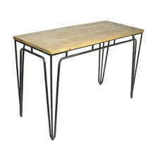 Metal Desk W/ Natural Wood Top, Black