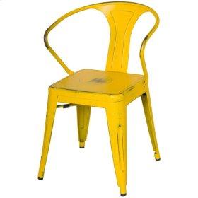 Metropolis Metal Arm Chair, Dis.Yellow/Paint Drops