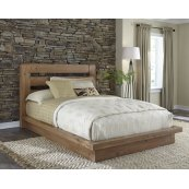 Queen Platform Bed - Distressed Pine Finish