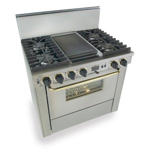 """Five Star36"""" Dual Fuel, Convect, Self-Clean, Sealed Burners, Stainless Steel with Br"""
