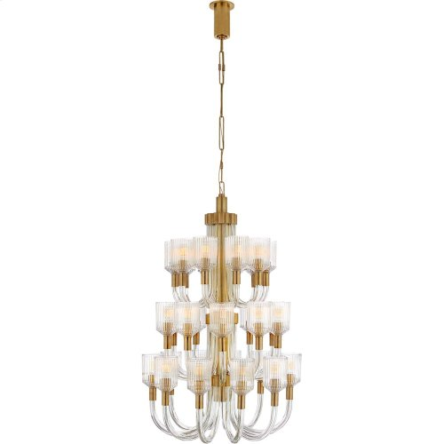 Visual Comfort KW5406CRB/AB Kelly Wearstler Reverie 27 Light 27 inch Clear Ribbed Glass and Brass Chandelier Ceiling Light