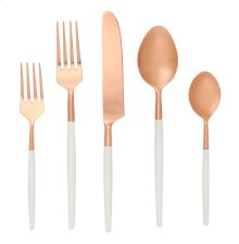 5 Pce - White/Copper Stainless Steel Cutlery Set