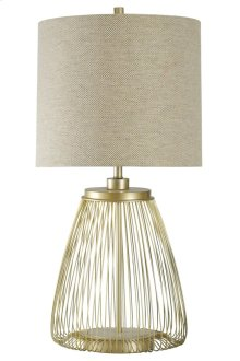 Open Metal Table Lamp with Acrylic Accent Designer Drum Shade