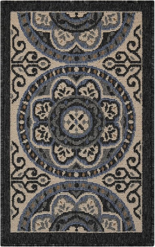 Caribbean Crb15 Ivory/charcoal Rectangle Rug 1'9'' X 2'9''
