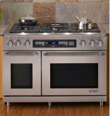 """Discovery 48"""" Gas Range, in Stainless Steel with Chrome Trim (Liquid Propane)"""
