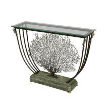 BLACK IRON CORAL MOTIF CONSOLE TABLE