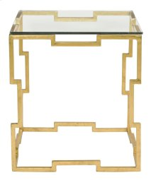 Bancroft Rectangular End Table Glass Top and Metal Base