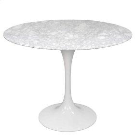 "Allie 39"" Round Table, White Marble"