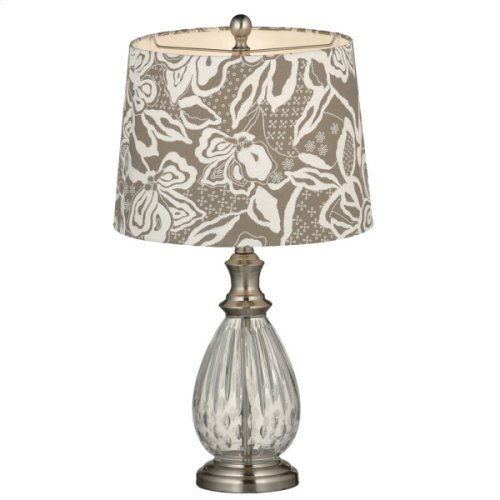 Etched Glass Lamp with Grey Floral Shade. 150W Max.