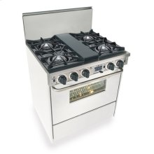 """30"""" Dual Fuel, Convect, Self Clean, Open Burners, White"""