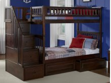 Columbia Staircase Bunk Bed Twin over Twin with Raised Panel Bed Drawers in Walnut