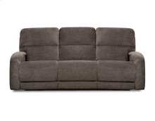 Double Reclining Sofa with Power Headrest. USA Made.  Marine Blue Leather. Used
