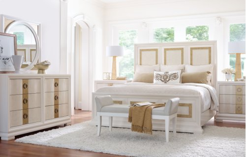 Tower Suite - Pearl Finish Panel Bed King 6/6