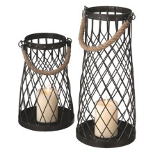Wire Pillar Lantern with Rope Handle set/2.