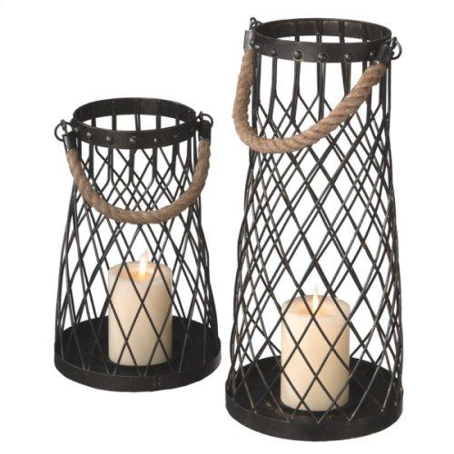 Wire Pillar Lantern with Rope Handle set/2.