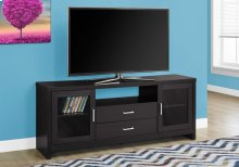 "TV STAND - 60""L / CAPPUCCINO - DRAWERS / GLASS DOORS"