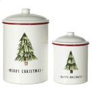 White & Red Enamel Christmas Tree Canister with Lid. (2 pc. set) Product Image