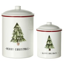 White & Red Enamel Christmas Tree Canister with Lid. (2 pc. set)