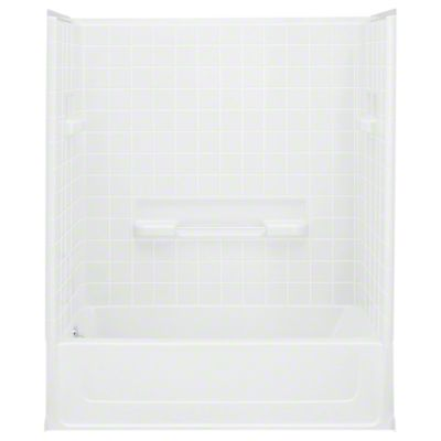 """All Pro®, Series 6104, 60"""" x 30"""" x 73-1/2"""" Bath/Shower with Age in Place Backers - Left-hand Drain - White"""