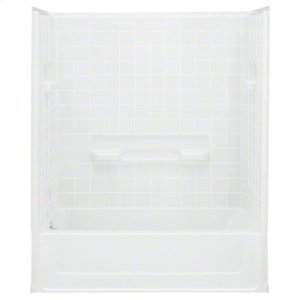 "All Pro®, Series 6104, 60"" x 30"" x 73-1/2"" Bath/Shower with Age in Place Backers - Left-hand Drain - White Product Image"