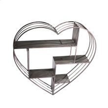 "Metal 31.5"" Heart Wall Shelf,gun Metal"