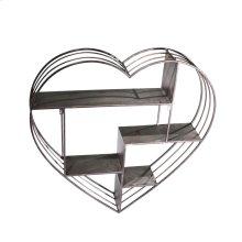 "Metal 31.5"" Heart Wall Shelf,gun Metal"
