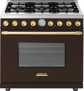 Range DECO 36'' Classic Brown matte, Gold 6 gas, gas oven