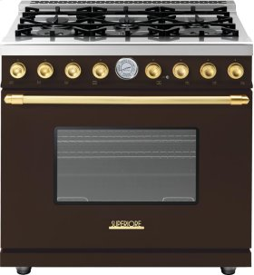 Range DECO 36'' Classic Brown matte, Gold 6 gas, gas oven