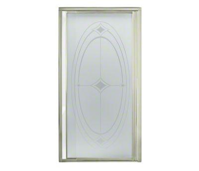 "Vista Pivot™ II Shower Door - Height 65-1/2"", Max. Opening 36"" - Nickel with Ellipse Glass Pattern"