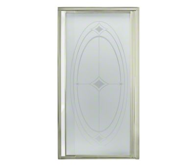 "Vista Pivot™ II Shower Door - Height 65-1/2"", Max. Opening 36"" - Nickel with Ellipse Glass Pattern"