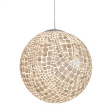 Inlaid Capiz Ball Pendant In Croc Pattern With Single 60 Watt Socket. Comes With 3' White Cord and Canopy.