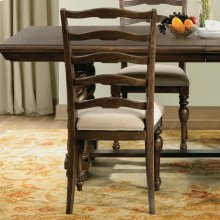 Cassidy - Upholstered Ladderback Side Chair - Aged Cask Finish