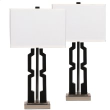 Exceptional Designs by Flash Mitzi Black and Silver Poly Table Lamp, Set of 2