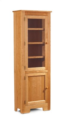 "Shaker Narrow Bookcase, Glass Doors on Top and Wood Doors on Bottom, Shaker Narrow Bookcase, Glass Doors on Top and Wood Doors on Bottom, 3-Adjustable Shelves, 25 1/2""w"