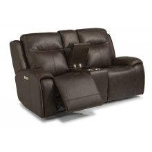 Solo Leather Power Reclining Loveseat with Console and Power Headrests