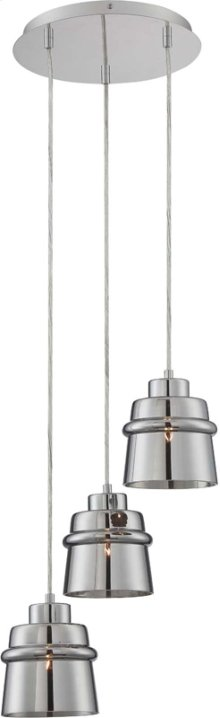 3-lite Pendant, Chrome/smoke Mirrored Glass Shd, E27 G 60wx3