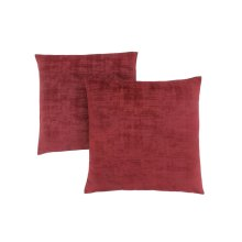 "PILLOW - 18""X 18"" / RED BRUSHED VELVET / 2PCS"