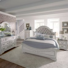 King Uph Bed, Dresser & Mirror, Chest, NS
