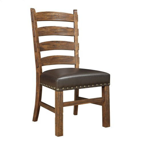 Emerald Home Chambers Creek Ladderback Side Chair-dark Brown Pu Upholstered Seat W/nailhead Trim D412-22