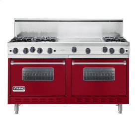 "Apple Red 60"" Open Burner Commercial Depth Range - VGRC (60"" wide, six burners 24"" wide griddle/simmer plate)"