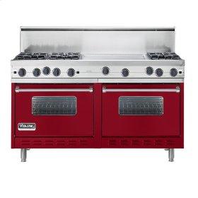 """Apple Red 60"""" Open Burner Commercial Depth Range - VGRC (60"""" wide, six burners 24"""" wide griddle/simmer plate)"""