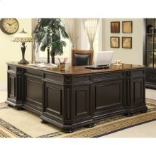 Allegro - L Desk and Return - Burnished Cherry/rubbed Black Finish