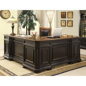 RiversideAllegro - L Desk and Return - Burnished Cherry/rubbed Black Finish